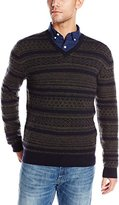 French Connection Men's Subtle Fairisle Crew Neck Sweater
