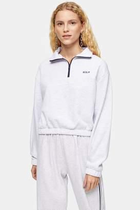 Topshop Womens Berlin Super Soft Funnel Sweatshirt - Grey Marl