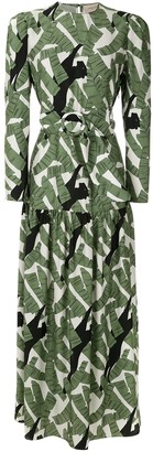Adriana Degreas Printed Silk Maxi Dress