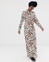 Asos Design DESIGN long sleeve button through maxi dress with belt in zebra print