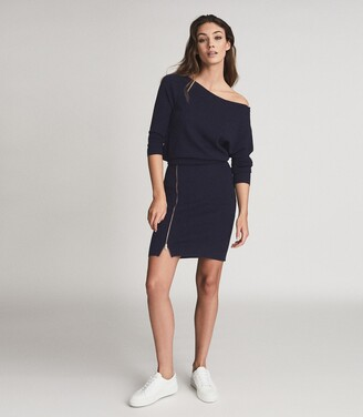 Reiss Cecilia - Off-the-shoulder Zip Detail Dress in Navy