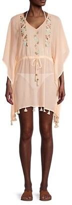 Letarte Tie-Waist Embroidered Coverup Dress