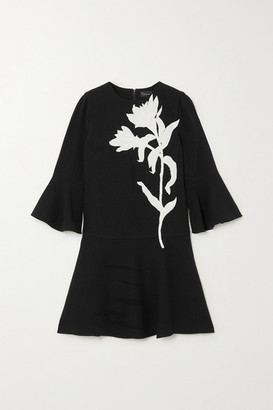 Oscar de la Renta Appliqued Wool-blend Mini Dress - Black