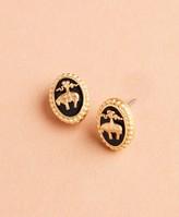 Brooks Brothers Gold-Plate & Enamel Golden Fleece Stud Earrings