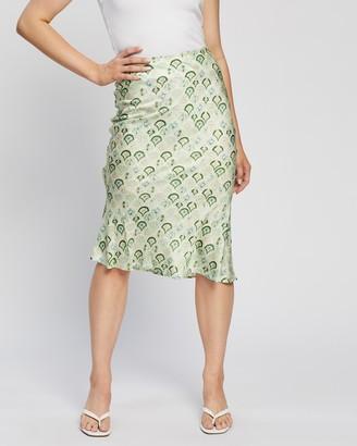 NEVER FULLY DRESSED Women's Green Midi Skirts - Slip Skirt - Size 8 at The Iconic