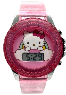 Accutime Kid's Hello Kitty Digital Pink Silicone Strap Watch 34mm