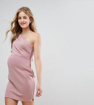 ASOS One Shoulder Scuba Deep Fold Mini Dress with Exposed Zip