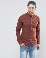 Asos Casual Skinny Oxford Shirt In Rust