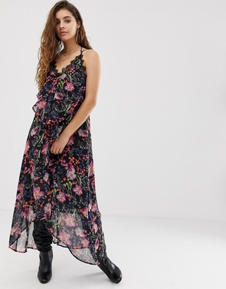 Religion cami midi dress with sheer floral layer-Black