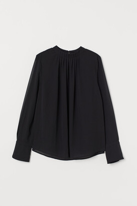 H&M Pleat-front Blouse - Black