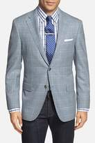 Hickey Freeman Beacon Blue Plaid Two Button Notch Lapel Wool Classic Fit Suit