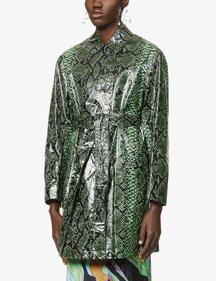 Dries Van Noten Snake-print cotton-blend coat