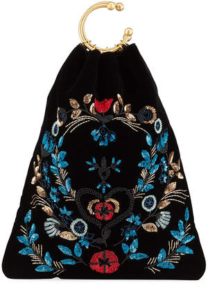 RED Valentino Floral-Sequin Clutch Bag