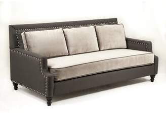 "Loni M Designs Madrid 79.5"" Square Arm Sofa Loni M Designs Fabric: Charcoal, Nailhead Detail: Silver"