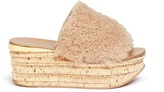 Chloé 'Camille' cork wedge shearling slide sandals