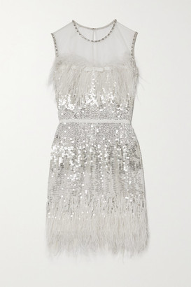 Jenny Packham Hula Feather-trimmed Embellished Tulle Mini Dress - Silver