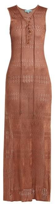 Melissa Odabash Kourtney Lace Up Pointelle Knit Maxi Dress - Womens - Camel