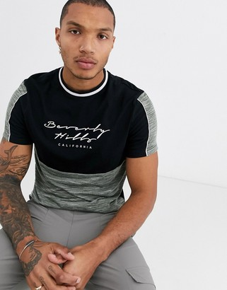 Asos DESIGN t-shirt with color block body panel and print in organic cotton