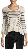 Isabel Marant Amalia Striped Scoop-Neck Sweater, Neutral Pattern