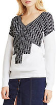 BCBGeneration Zig-Zag Intarsia V-Neck Sweater