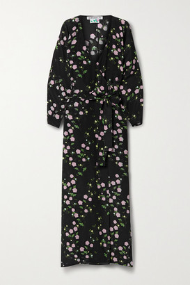 BERNADETTE Stella Floral-print Silk Crepe De Chine Wrap Maxi Dress - Black