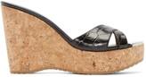 Jimmy Choo Black Leather & Cork Perfume Wedge Sandals