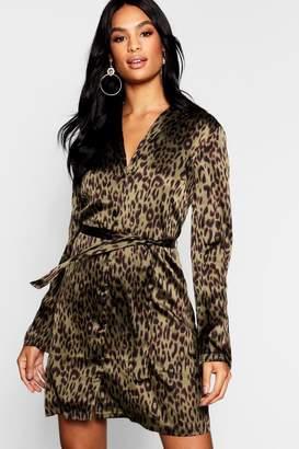 boohoo Tall Satin Leopard Print Belted Shift Dress