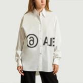 Maison Margiela White Logo Oversized Shirt - IT40 = 36 | white | cotton - White/White