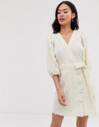 Moon River volume sleeve wrap mini dress-Cream