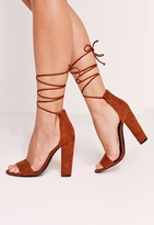 Missguided Block Heel Barely There Brown