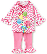 Rare Editions Baby Girls 12-24 Months Chevron-Printed Ruffle Bell-Sleeve Balloon Applique Dress and Solid Pants Set