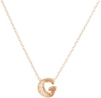 Latelita Diamond Initial Letter Pendant Necklace Rose Gold G