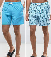 Asos Swim Shorts 2 Pack In Blue And Geo Print In Mid Length Save