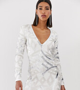 Starlet allover embellished plunge front mini dress in white