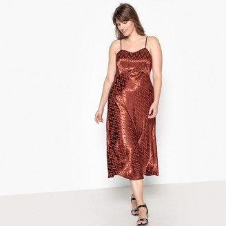 Castaluna Plus Size Satin Look Zig Zag Patterned Dress