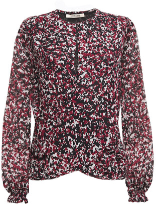 Roberto Cavalli Wrap-effect Ruched Printed Silk-chiffon Blouse