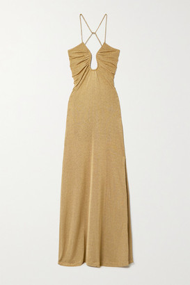 Fendi Open-back Metallic Knitted Gown - Gold