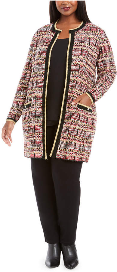 Belldini Plus Size Metallic-Threaded Open-Front Cardigan