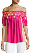 Peter Pilotto Paneled Off-the-Shoulder Lace-Trim Top, Pink