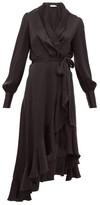 Zimmermann Espionage Ruffle-hem Silk Wrap Dress - Womens - Black