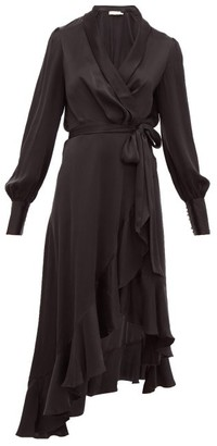Zimmermann Espionage Ruffle-hem Silk Wrap Dress - Womens - Black