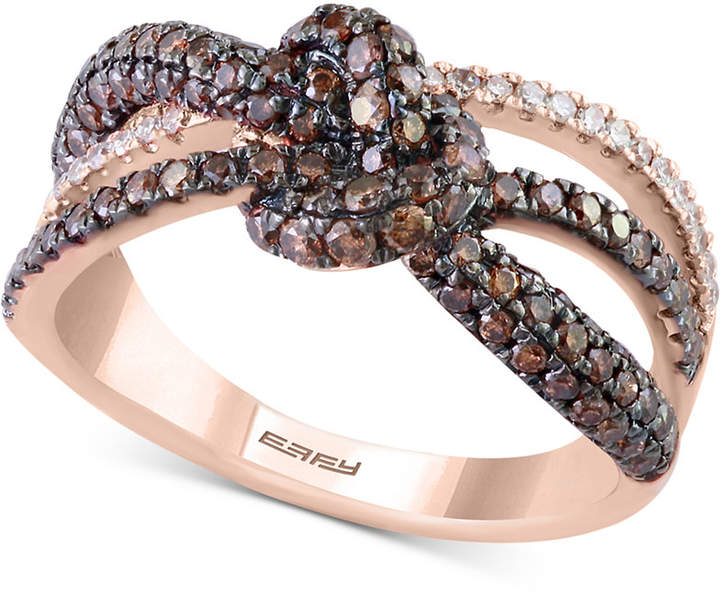 Effy Diamond Love Knot Ring (1-1/10 ct. t.w.) in 14k Rose Gold