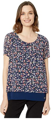 MICHAEL Michael Kors Garden Patch Short Sleeve Top (Coral Peach) Women's Blouse