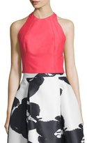 Halston Sleeveless Structured Crop Top, Coral