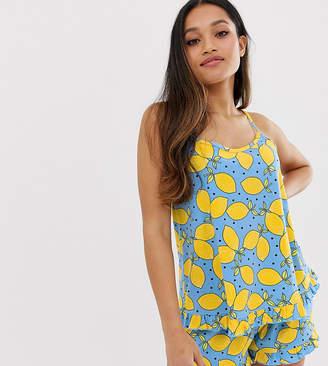 Asos DESIGN Petite lemon frill pyjama short set-Multi