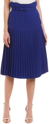 Valentino Pleated Wool & Silk-Blend A-Line Skirt