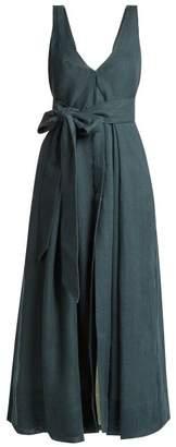 Kalita Poet By The Sea Tie Waist Linen Dress - Womens - Dark Green