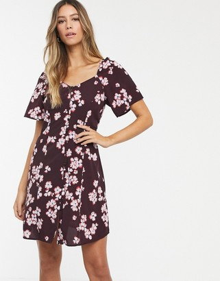 Vero Moda square neck floral button thru dress