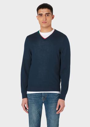Paul Smith Men's Dark Navy Merino Wool-Blend V-Neck Sweater With Stripe Trims