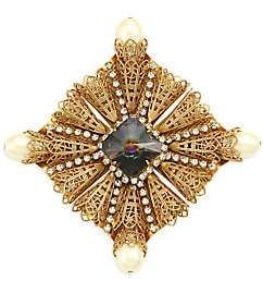 Kenneth Jay Lane Women's Antique Goldplated, Crystal & Faux-Pearl Brooch